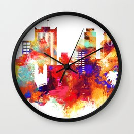 Phoenix Watercolor Skyline Wall Clock