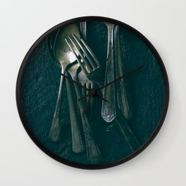 Beautiful Vintage Spoons on Black Wall Clock