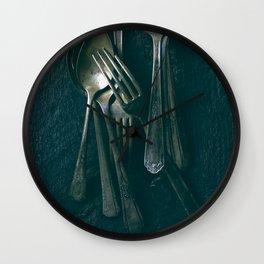 Beautiful Vintage Spoons on Black Wall Clock