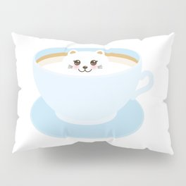 Cute Kawai cat in blue cup Pillow Sham