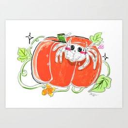Jumping spider with pumpkin Art Print