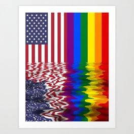 American Flag, Pride Flag Art Print