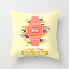 Carpe Diem - Seize the Day [orange] Throw Pillow