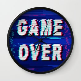 Game Over Glitch Text Distorted Wall Clock