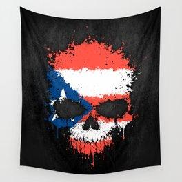 Flag of Puerto Rico on a Chaotic Splatter Skull Wall Tapestry