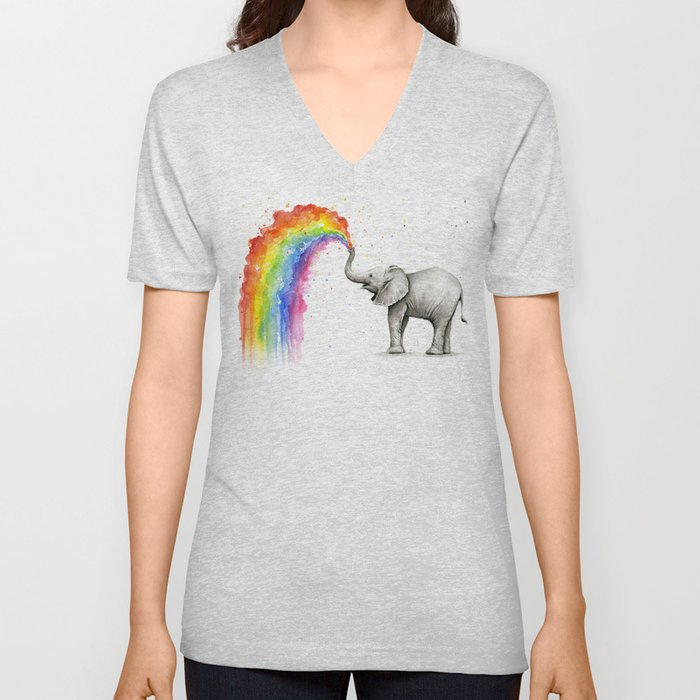 Baby Elephant Spraying Rainbow Unisex V-Neck