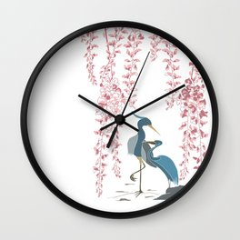 Japanese Themed Landscape Illustration with Wisteria and Herons Wall Clock