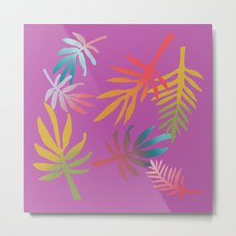 Rainbow Palms Magenta Metal Print