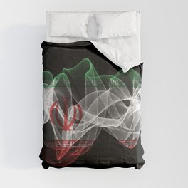 Iran Smoke Flag on Black Background, Iran flag Comforters