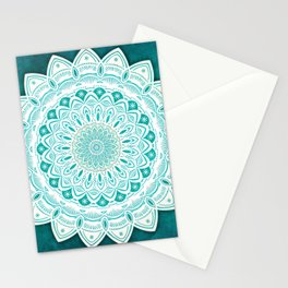 White Mandala on Blue Green Distressed Background with Detail and Textured Stationery Cards