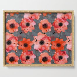 Watercolor poppies on gray background Serving Tray