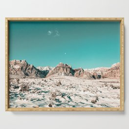 Vintage Picture Desert Snow // Winter Teal Blue Sky Red Rock Canyon Wilderness Park Photograph Serving Tray
