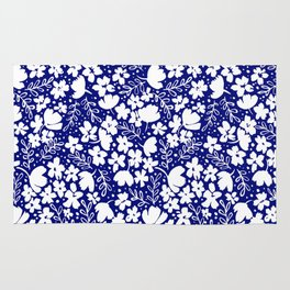 White Blossoms On Navy Blue Pattern Rug