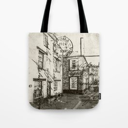 Old English Seaside Harbour Town Backstreets Tote Bag