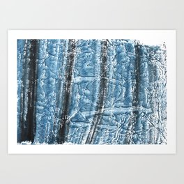 Black Blue colored wash drawing texture Art Print