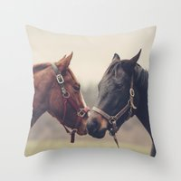 horses Throw Pillows featuring Horses  by Laura Ruth