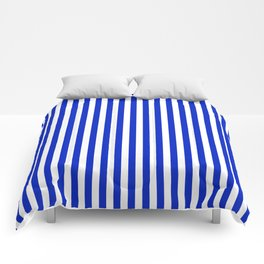 Cobalt Blue and White Vertical Deck Chair Stripe Comforters
