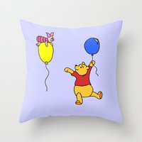pooh Throw Pillows featuring pooh and piglet by BlackBlizzard