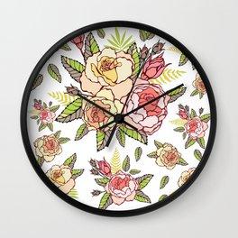 Pink roses. Wall Clock