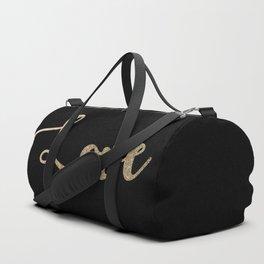 love gold glitter on black Duffle Bag