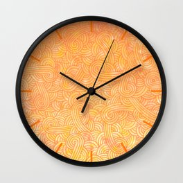 Ombre yellow and orange swirls doodles Wall Clock