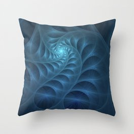 Blue spiral fractal picture on the dark background Throw Pillow