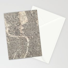 Vintage Map of London England (1899) 2 Stationery Cards