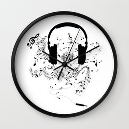 Headphones and Music Notes Wall Clock