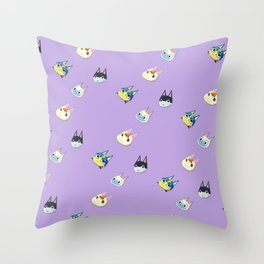 Animal Crossing Cats 1 - Purple Throw Pillow