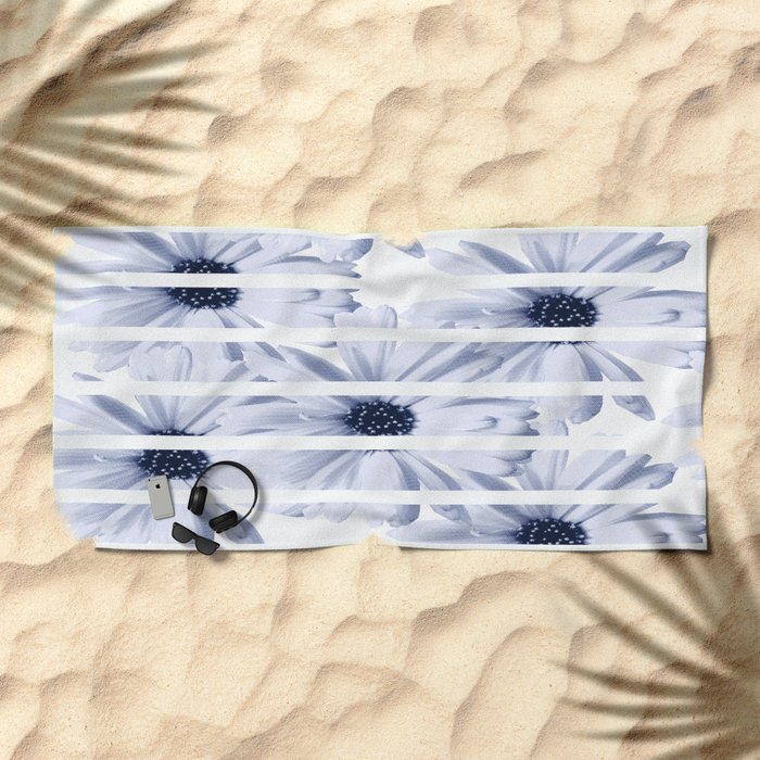Light Blue Daisies with White Stripes #decor #society6 Beach Towel
