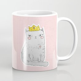 Cute cat with crown pink background Coffee Mug
