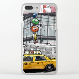 A corner in New York city and a yellow cab Clear iPhone Case