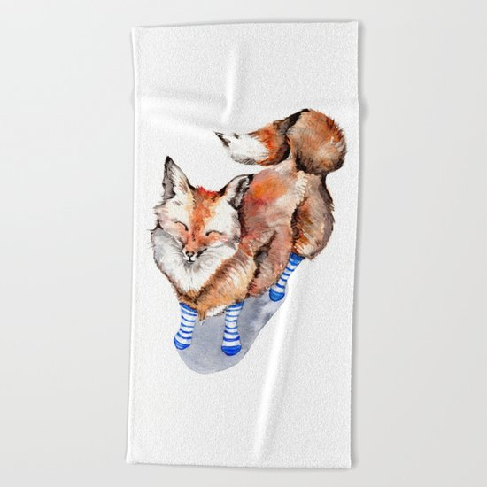 Smiling Red Fox in Blue Socks Beach Towel