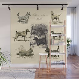 TERRIER DOGS Illustration Wall Mural