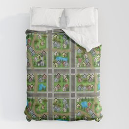 Tiny Cottages in a Tiny World Comforters