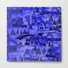 winter village,blue Metal Print