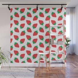 Cream Strawberries Pattern Wall Mural