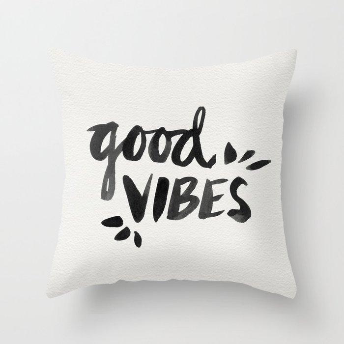 Good Vibes – Black Ink Throw Pillow