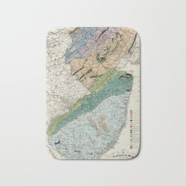 Vintage Geological Map of New Jersey (1839) Bath Mat