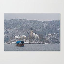 Bled Island Pletna Boat Canvas Print