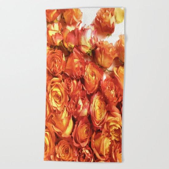 Cluster Of Orange Roses Beach Towel