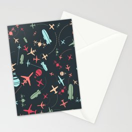 Black Airplane and Aviation Pattern Stationery Cards