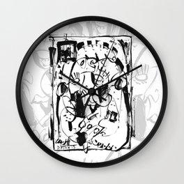 Caged Bird - b&w Wall Clock