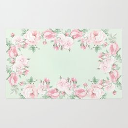 Shabby roses pink mint Rug