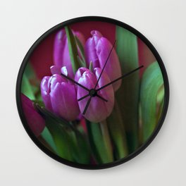 Pink Tulip Poetry Wall Clock