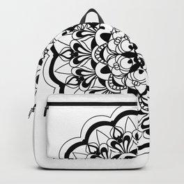 black&white mandala with flower Backpack