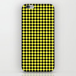 Black and Electric Yellow Diamonds iPhone Skin