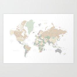 "World map with cities, ""Anouk"" Kunstdrucke"