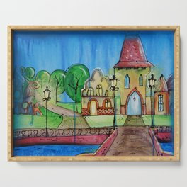 Landscape Painting Fairy town Acrylic S14 Contemporary Nursery Cityscape art for baby children kids Serving Tray