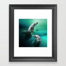 Dancing Dolphins Framed Art Print